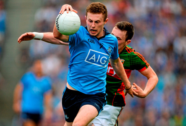 Jack McCaffrey, Dublin, in action against Diarmuid O'Connor, Mayo
