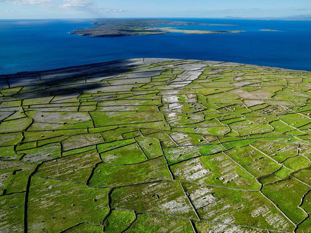 A view over Inis Meáin, one of the Aran Islands. There has been controversy over the decision to replace the islands' fixed-wing air service with a new helicopter service based far from the mainland coast on the east side of Galway city