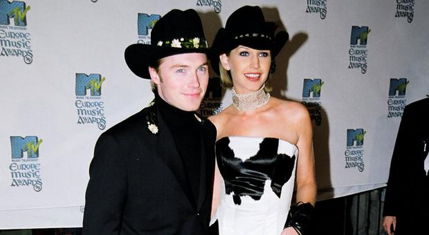 Ronan Keating and Yvonne Connolly during 1999 MTV EMA Arrivals at The Point Depot in Dublin, Ireland. (Photo by Jeff Kravitz/FilmMagic, Inc)