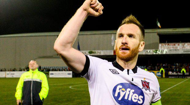 Stephen O'Donnell, Dundalk, celebrates at the end of the game