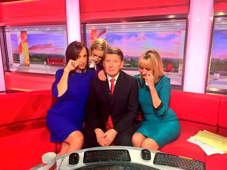 Picture from the Twitter feed of BBCBreakfast of presenter Bill Turnbull who is leaving the show after 15 years, sitting in the studio with other members of the team.