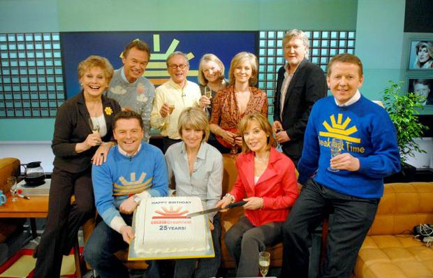 BBC handout photo dated 17/1/2008 of BBCBreakfast presenter Bill Turnbull (right), who is leaving the show after 15 years, with other presenters past and present during celebrations to mark the programme's 25th anniversary, including (left to right) Angela Rippon, Francis Wilson, Chris Hollins, Glyn Christian, Selena Scott, Sue Cook, Sian Williams and Mike Smith.