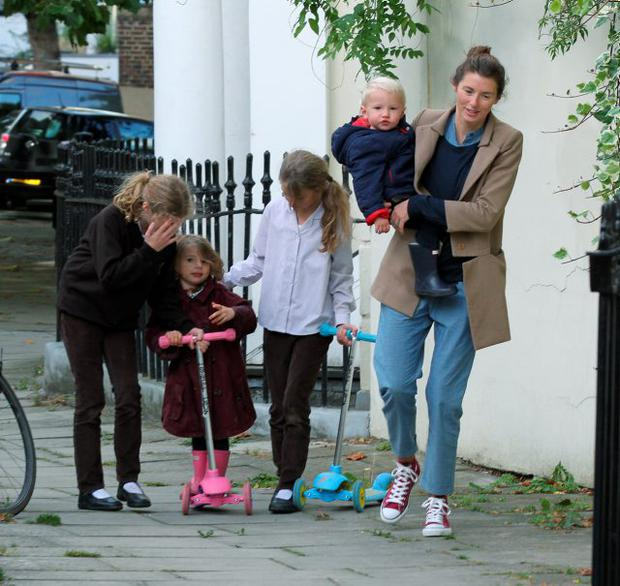 Jools Oliver and children are sighted in Primrose Hill on September 25, 2012