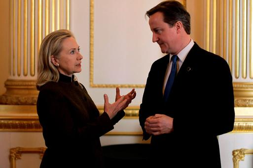 Hillary Clinton and David Cameron, as newly released emails show Mrs Clinton was repeatedly warned that the UK's Conservative-Liberal Democrat coalition would rapidly fall apart in the wake of the 2010 general election Credit: Matt Dunham/PA Wire