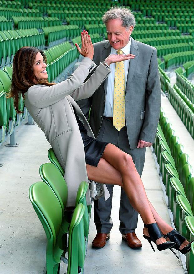 Tv3 Autumn Schedule launch at the Aviva Stadium Dublin Glenda Gilson and Vincent Browne Picture Brian McEvoy No repro fee for one use