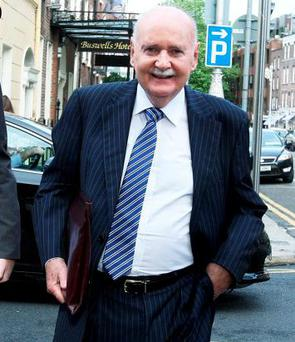 Former Chief Executive of the Irish Nationwide Building Society, Michael Fingleton, arriving at the Banking Inquiry at Leinster House yesterday