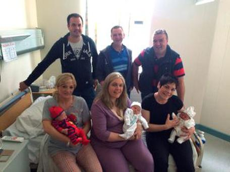 Mairéad, Joelyn and Bernie with Thomás Óg, Sorcha and Phelim and their dads