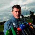 Ireland assistant manager Roy Keane speaking during yesterday's pitchside press conference at Abbotstown