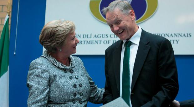 Justice Minister Frances Fitzgerald with Ireland rugby team manager Joe Schmidt
