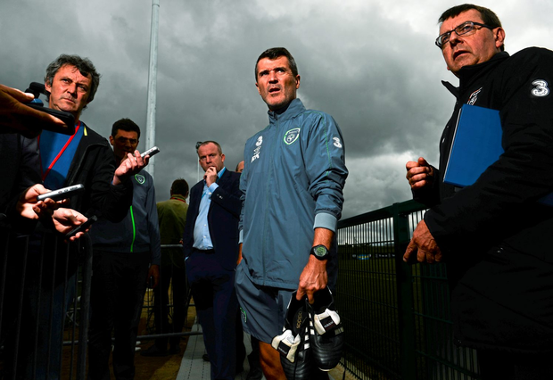 Republic of Ireland assistant manager Roy Keane speaks to the media at Abbotstown