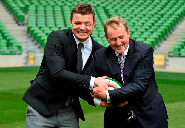 Taoiseach Enda Kenny with Irish rugby legend Brian O'Driscoll at the Rugby World Cup 2023 Oversight Board Meeting in September