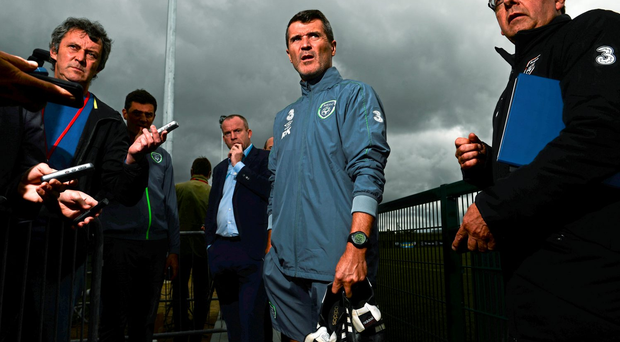2 August 2015; Republic of Ireland assistant manager Roy Keane during a press conference. Republic of Ireland Pitchside Press Conference. Abbotstown, Co. Dublin. Picture credit: David Maher / SPORTSFILE