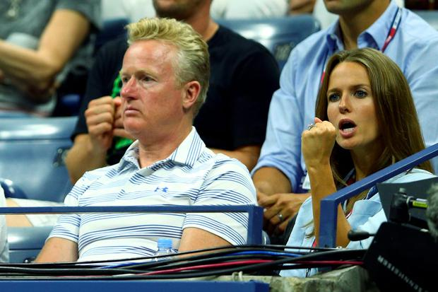 Kim Sears watches as Nick Kyrgios of Australia plays against her husband Andy Murray of Great Britain in their Men's Singles First Round match on Day Two of the 2015 US Open at the USTA Billie Jean King National Tennis Center