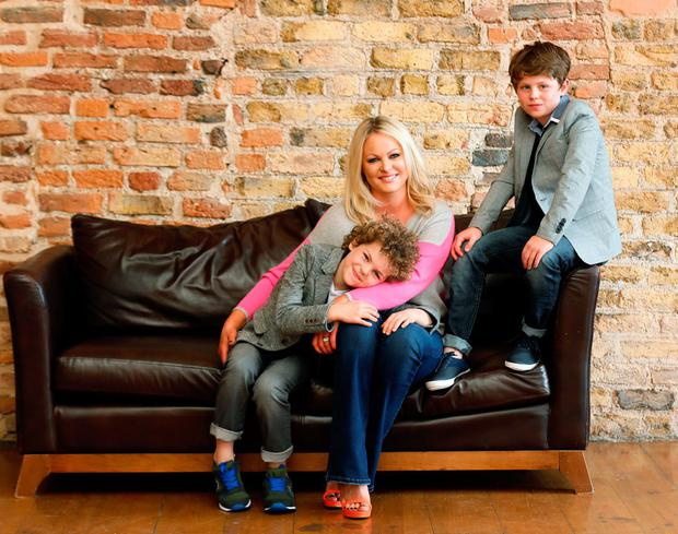 Amanda Brunker with her sons Setanta and Edward. Picture: Kieran Harnett/VIP Magazine