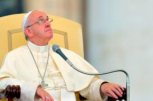 Pope Francis during his weekly audience in Saint Peter's square at the Vatican Credit: VINCENZO PINTO/AFP/Getty Images