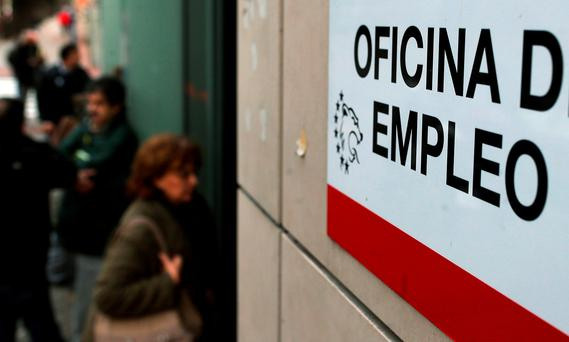 An employment office in Spain. Photograph: Andres Kudacki/AP