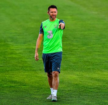Republic of Ireland's Robbie Keane in action during squad training