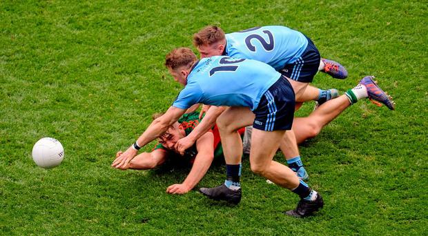 Mayo's Aidan O'Shea in action against Dublin duo Paul Flynn and John Small