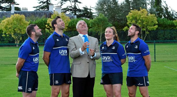 Donal Clancy (managing director, Laya Healthcare), with from left, Fergus McFadden, Kevin McLauglin, Ailis Egan, from the Leinster ladies team, and Isaac Boss, pictured as Laya Healthcare was announced as the official Health & Wellness Partner to Leinster Rugby.