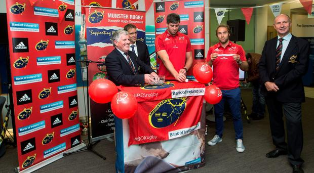 Munster Rugby honorary secretary Joe Murphy, BOI South West regional manager David Merriman, Munster players David O'Callaghan and Duncan Williams at the Munster Senior Cup launch in Bank of Ireland, South Mall, Corknew