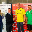 Paul O'Connell with referee Joy Neville, MAR president Eugene Meaney and top ref Johnny Lacey at the launch of the referee recruitment campaign