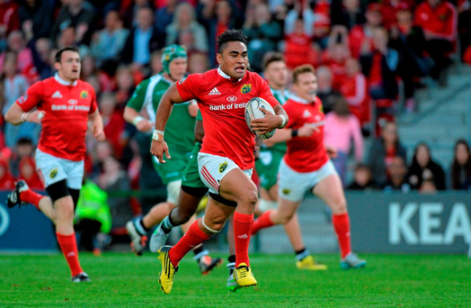 Francis Saili on his way to scoring his first try for Munster against London Irish at Irish Independent Park last week. Saili took a bad bang to the head later in the game but thankfully he's in good shape