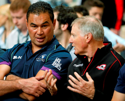 Pat Lam and Edinburgh head coach Alan Solomon at the Pro12 launch in London