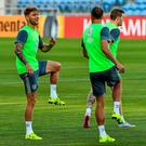 Ireland players including Jeff Hendrick (left) go through their paces in training last night