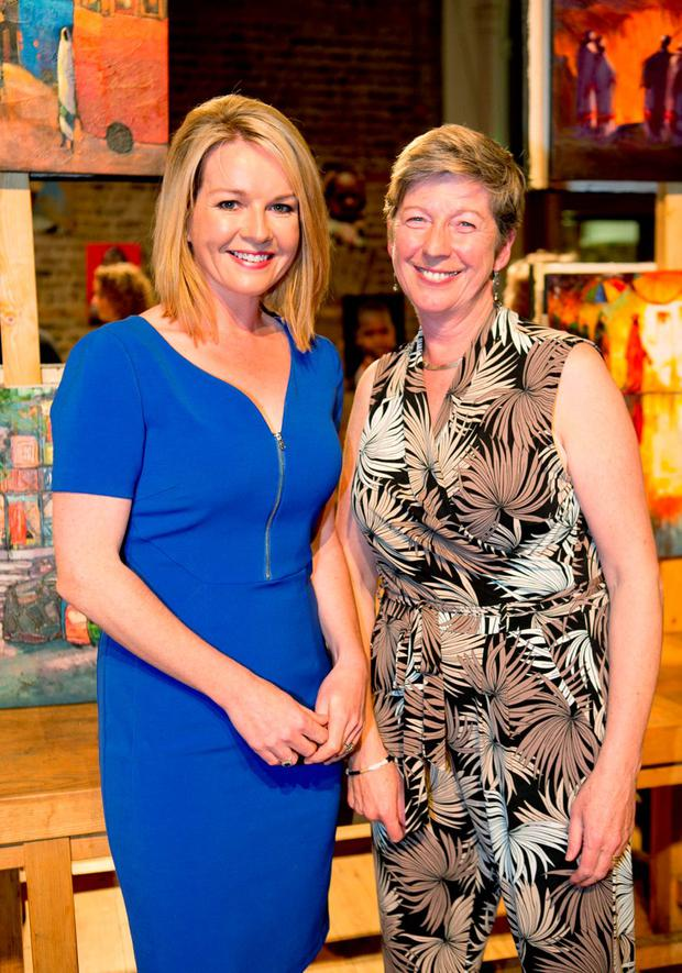 Pictured is Claire Byrne & Harriott Andrews at the official opening of a major exhibition of Ethiopian art at Dublin's Smock Alley Theatre
