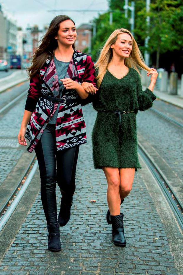Shauna Lindsay (left) wears chunky knit as before and Maeve Madden wears a jumper dress for €12.99 from Lidl