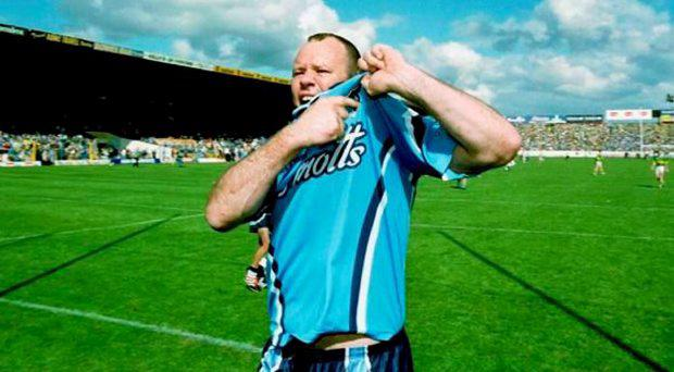 4 August 2001; Vinny Murphy, Dublin, celebrates at the end of the match. Kerry v Dublin, Bank of Ireland All-Ireland Football Championship Quarter Final, Semple Stadium, Thurles, Co. Tipperary. Picture credit; Ray McManus / SPORTSFILE