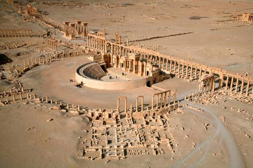A picture taken in 2009 shows an aerial view of a part of the world-renowned ancient city of Palmyra Credit: CHRISTOPHE CHARON /AFP/Getty Images