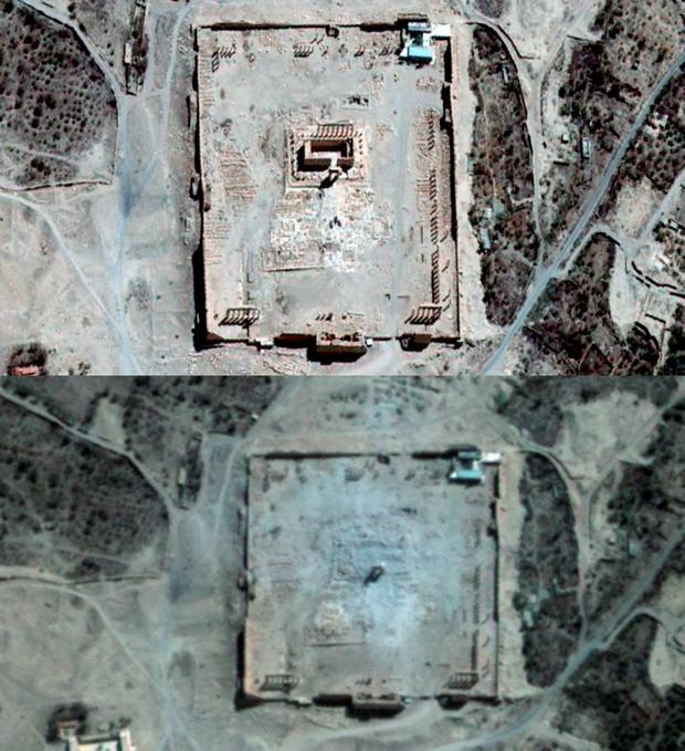 Satellite images confirmed the destruction of another famed temple in Syria's Palmyra Credit: AFP / UNITAR-UNOSAT / AIRBUS DS / URTHECAST