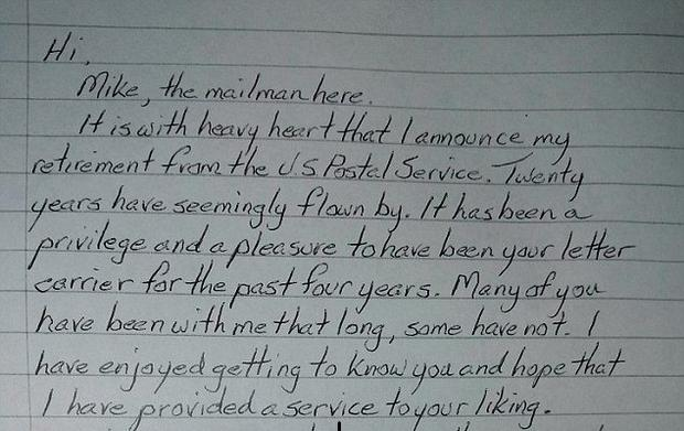 Retiring postman pens heartbreaking letter saying goodbye to