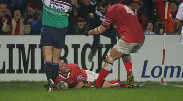 Mick Galwey, Munster is congratulated by team mate Donnacha O'Callaghan after scoring his try against Ulster in their Celtic League Semi-Final in 2003 at Thomond Park