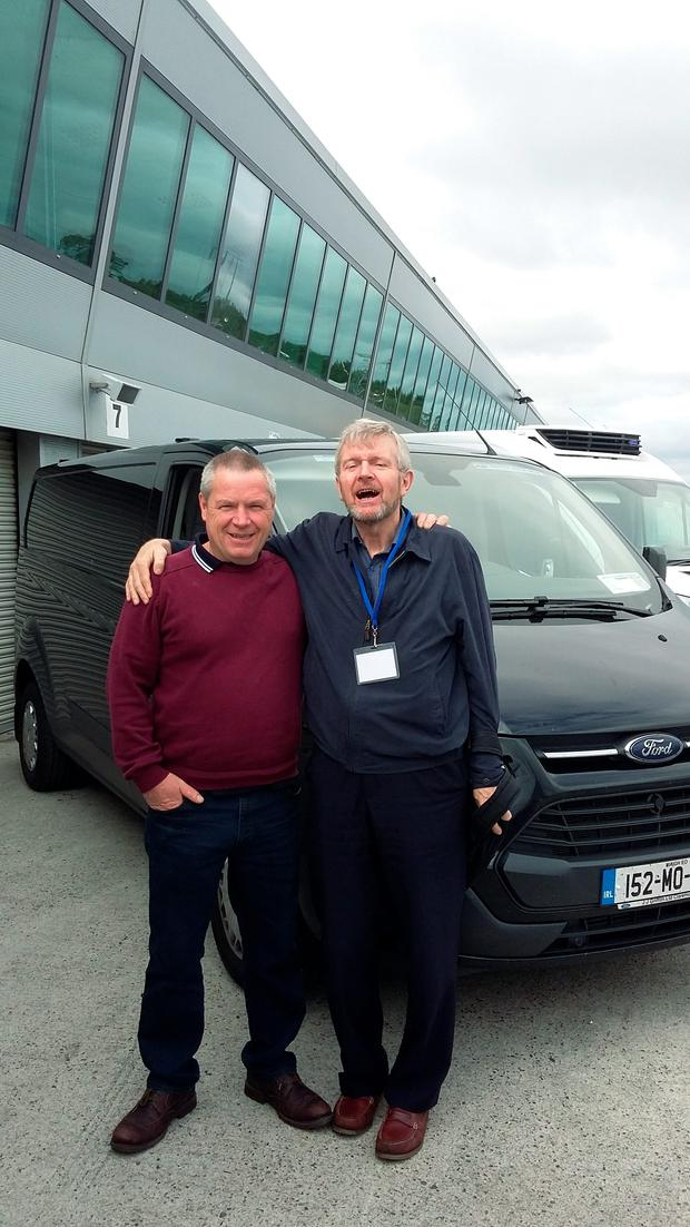 Motoring Editor Eddie Cunningham with Lotto Winner Gerry Murphy. A Transit van was one of the first purchases he bought with his €6.3m fortune this year.