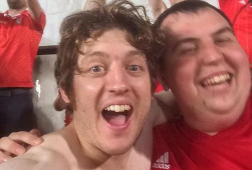 XFM presenter Elis James celebrates Wales's victory over Cyprus