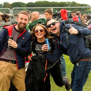 Music fans Leo, Jen and Conner pictured arriving to Electric Picnic in Stradballly this afternoon