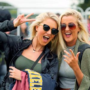 Music Fans Kaly and Rachel Farmer from Cork pictured arriving to Electric Picnic in Stradballly this afternoon