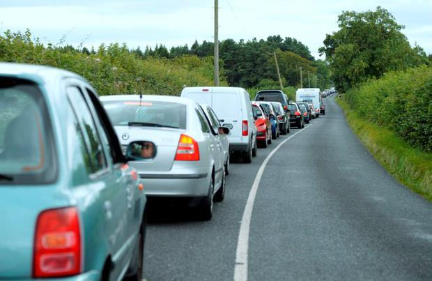 Cars queuing 3kms from Stradbally. Electric Picnic - Friday. Stradbally, Co. Laois. Picture: Caroline Quinn