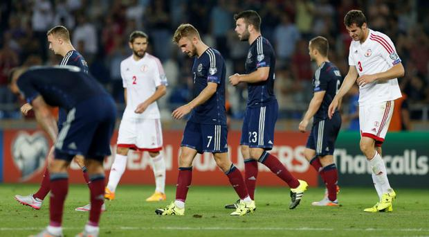 Football - Georgia v Scotland - UEFA Euro 2016 Qualifying Group D - Boris Paichadze Dinamo Arena, Tbilisi, Georgia - 4/9/15 Scotland's James Morrison dejected at the end of the match Action Images via Reuters / Peter Cziborra Livepic EDITORIAL USE ONLY.