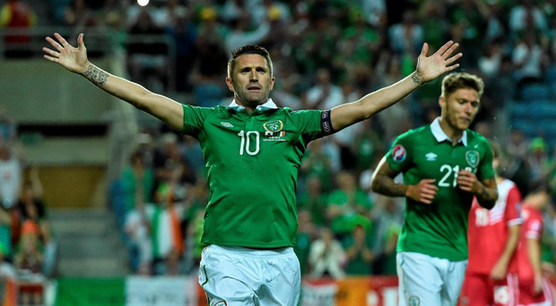 4 September 2015; Robbie Keane, Republic of Ireland, celebrates after scoring his side's second goal. UEFA EURO 2016 Championship Qualifier, Group D, Gibraltar v Republic of Ireland. Est?dio Algarve, Faro, Portugal. Picture credit: David Maher / SPORTSFILE