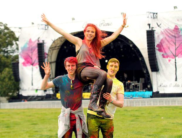 Music Fans Conner Kennedy,Jamie Tarpey and Caoimhe Macdonnell arriving to Electric Picnic in Stradballly this afternoon. Pic Stephen Collins/Collins Photos