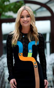 04/09/15 TV presenter, Laura Whitmore pictured this afternoon at the Intercontinenlal Hotel for the launch of the Brown Thomas Autumn Winter 2015 Collections at the annual ISPCC luncheon...Picture Colin Keegan, Collins Dublin.