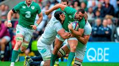 5 September 2015; Dave Kearney, Ireland, is tackled by Ben Morgan and Chris Robshaw, England. Rugby World Cup Warm-Up Match, England v Ireland. Twickenham Stadium, London, England. Picture credit: Matt Browne / SPORTSFILE
