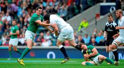 5 September 2015; Ben Morgan, England, is tackled by Jonathan Sexton, left, and Eoin Reddan, Ireland. Rugby World Cup Warm-Up Match, England v Ireland. Twickenham Stadium, London, England. Picture credit: Brendan Moran / SPORTSFILE