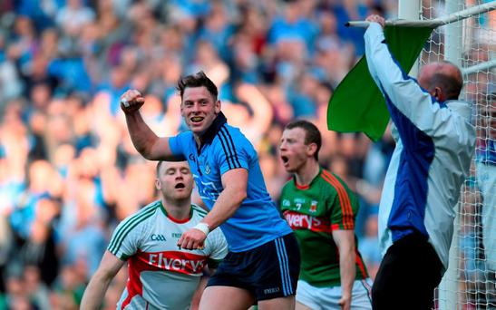 5 September 2015; Philip McMahon, Dublin, celebrates after scoring his side's second goal. GAA Football All-Ireland Senior Championship Semi-Final Replay, Dublin v Mayo. Croke Park, Dublin. Picture credit: Paul Mohan / SPORTSFILE