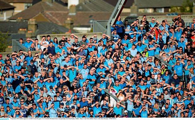 5 September 2015; Dublin supporters on Hill 16 watch the game. GAA Football All-Ireland Senior Championship Semi-Final Replay, Dublin v Mayo. Croke Park, Dublin. Picture credit: D?ire Brennan / SPORTSFILE