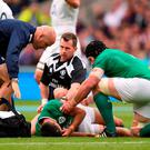 Ireland's Conor Murray lies injured during the World Cup Warm up match at Twickenham