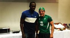 Ian Madigan posted this picture of his meeting with Usain Bolt on Instagram